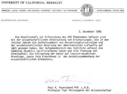 Beurteilung der Arbeit der GEP e.V. durch Paul Feyerabend